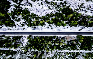 A Road With Snow on Either Side